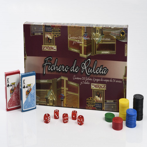 FICHERO RULETA BISONTE 500 FICHAS + 2 NAIPES + 5 DADOS
